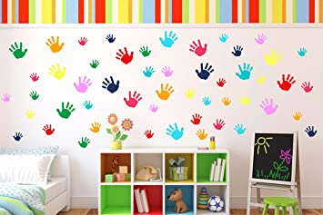 Colorful Hand Prints Wall Stickerl | Wall Decal | Daycare Decor | Nursery  Decor | Kids