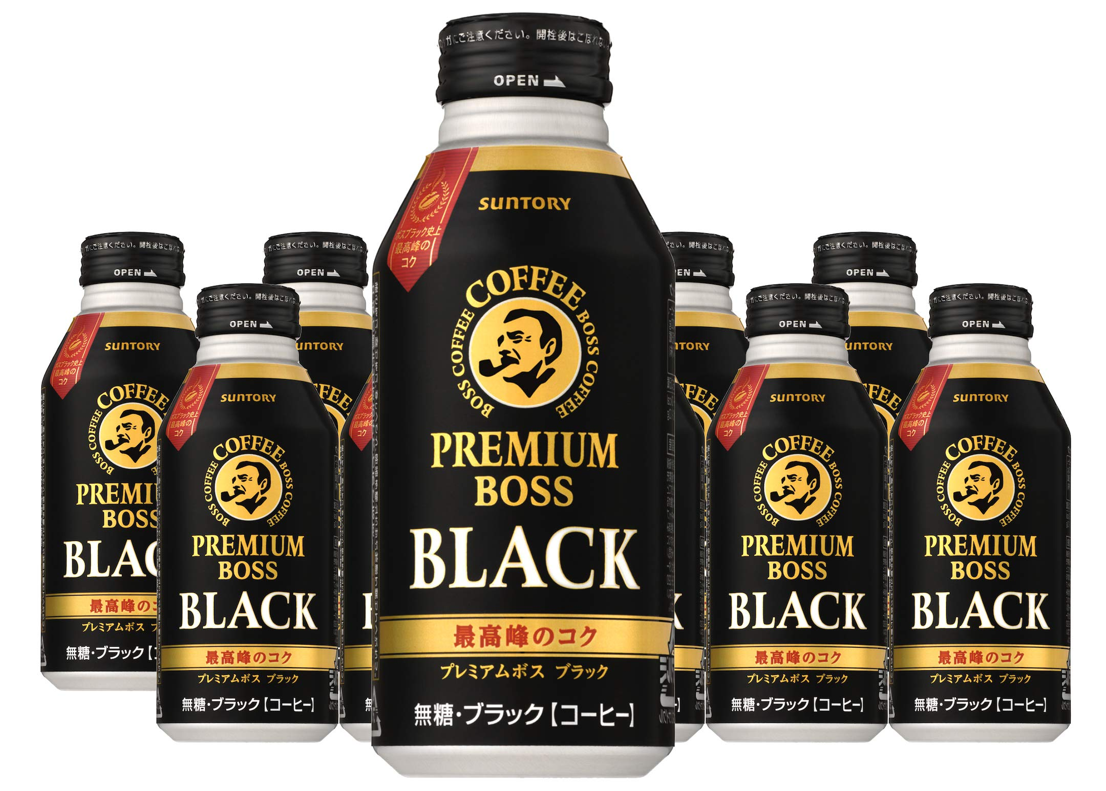 Suntory Premium Boss Black Coffee (Japan Import), Ready to Drink, Zero Calorie & Sugar Free - 13.18 Fl Oz | Pack of 10 by Suntory