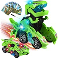 Yojoloin Coches de Dinosaurios Juguetes,Transformers Juguete Cars,Switch Go Dinos,2 en 1 Coche Robot Niños con Luz LED y…