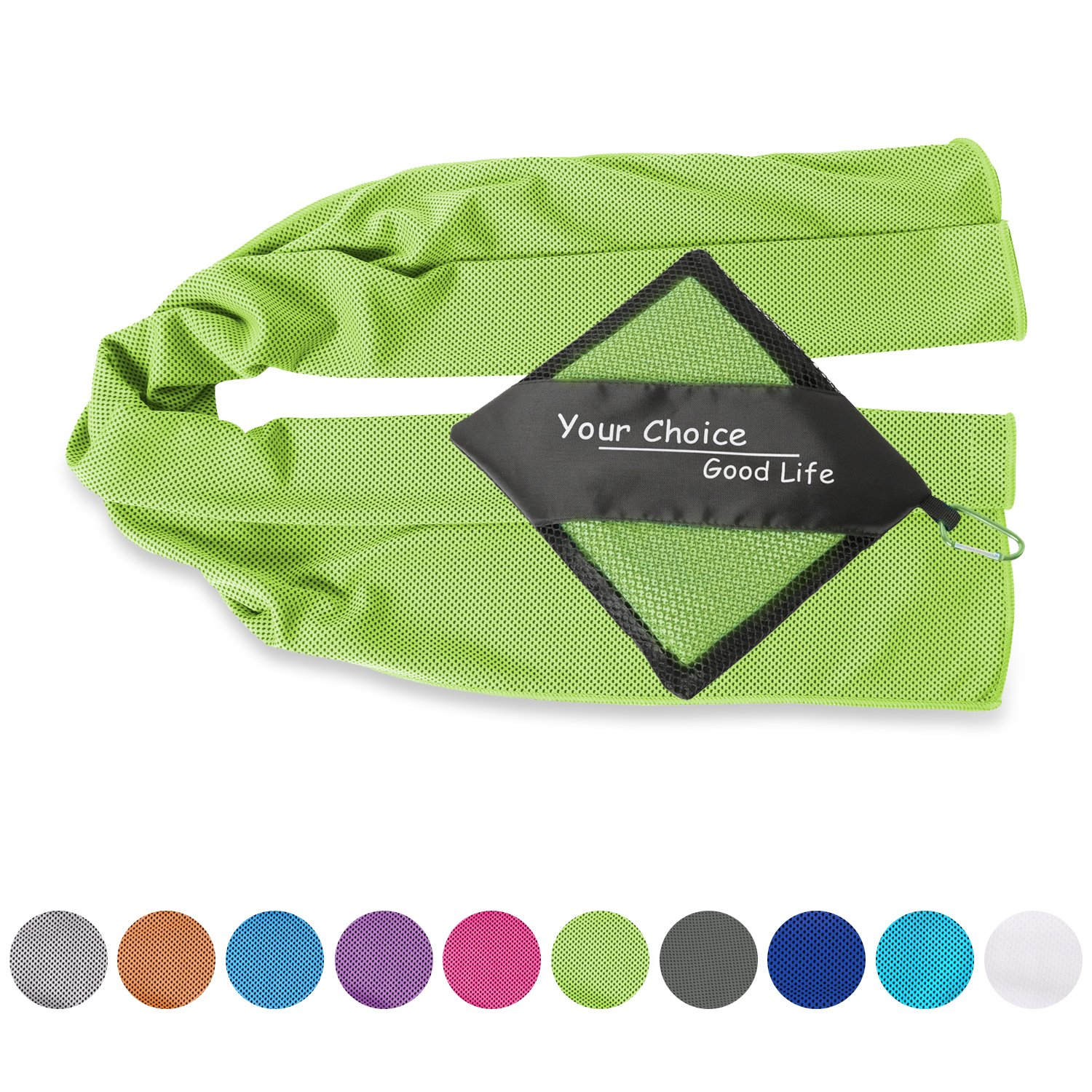 Your Choice Cooling Towel - Cooling Neck Wrap - Ice Towels Cold Snap Towel for Neck. Use as Cooling Neck Scarfs Bandanas for Gym Golf Sports in Hot Summer, Green 12x40 Inch