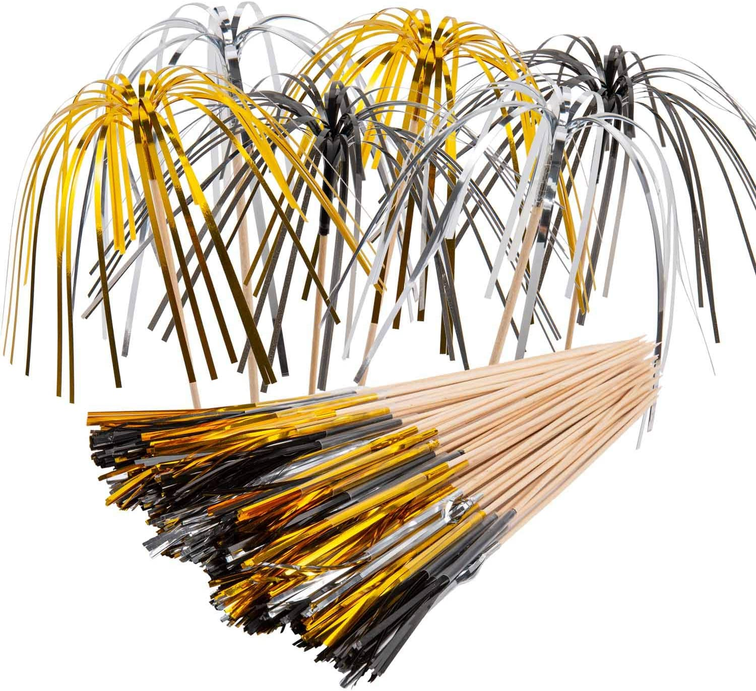 Cocktail Picks Fireworks Cupcake Picks Party Cocktail Sticks New Year Cake Toppers Sandwich Appetizer Food Sticks 9 Inch Coconut Tree for Party Decoration 100 Counts (Black,Gold,Silver)