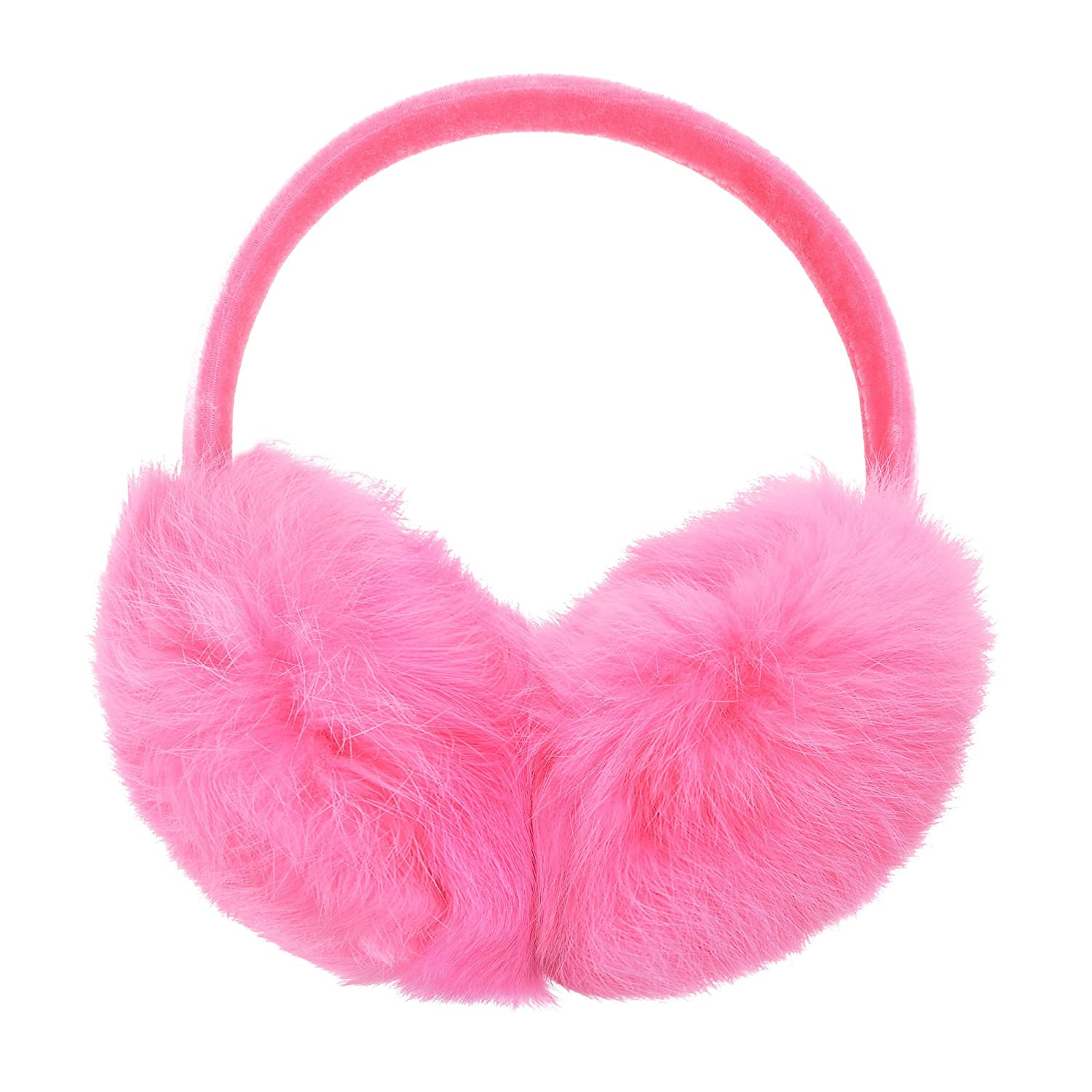 ZLYC Womens Girls Genuine Rabbit Fur EarMuffs Adjustable Ear Warmers, White ZYJ-ET-001-WT