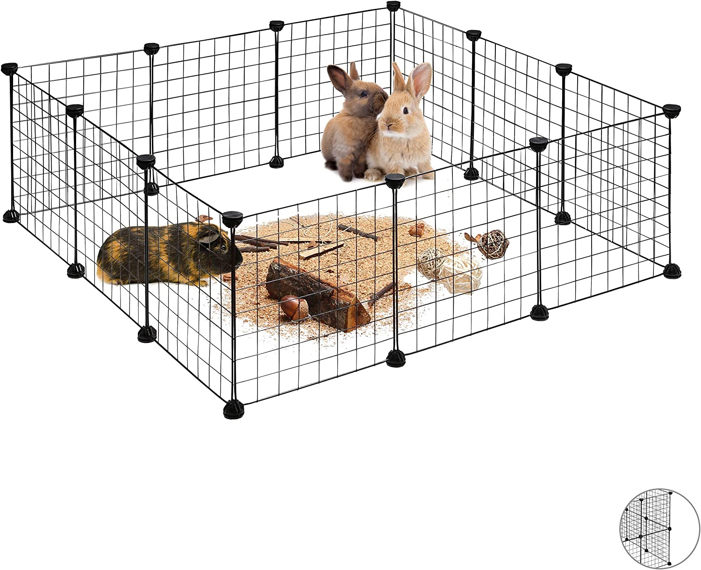 Relaxdays, Negro, Parque Mascotas Ampliable para Conejos, Cobayas y Cachorros con 12 Piezas, Metal y Plástico, 37 x 110 x 110 cm