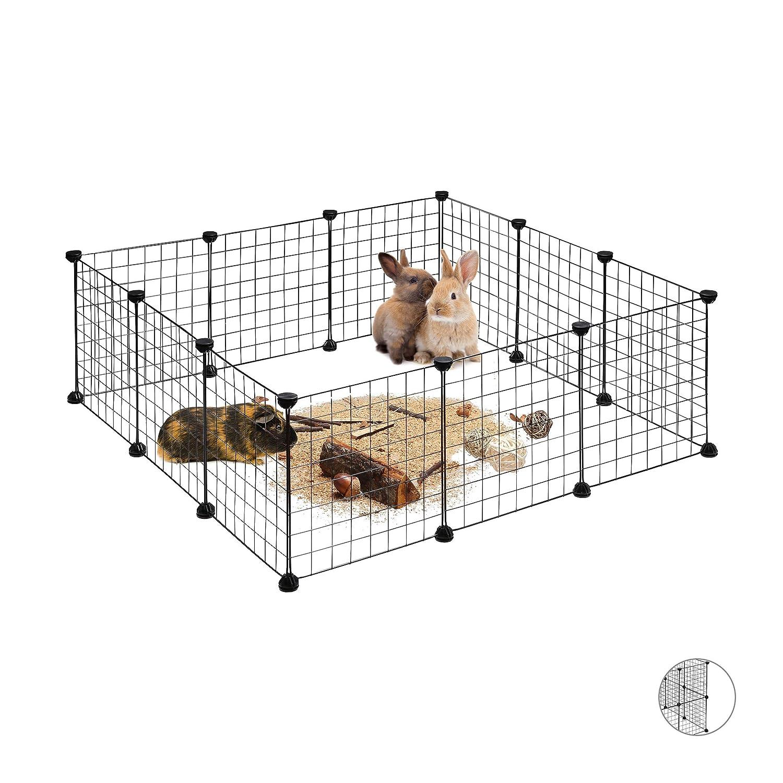 Relaxdays Recinto Recinzione DIY per Animali di Piccola Taglia Rete Allungabile per Conigli