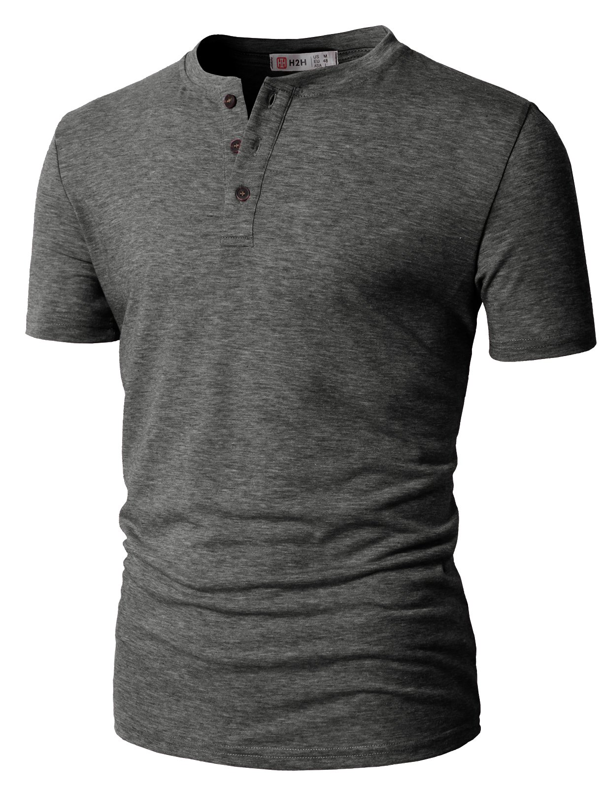 H2H Men's Short Sleeve Henley Tee Shirt (Regular and Big and Tall Sizes included) Charcoal US M/Asia L (CMTTS0203)