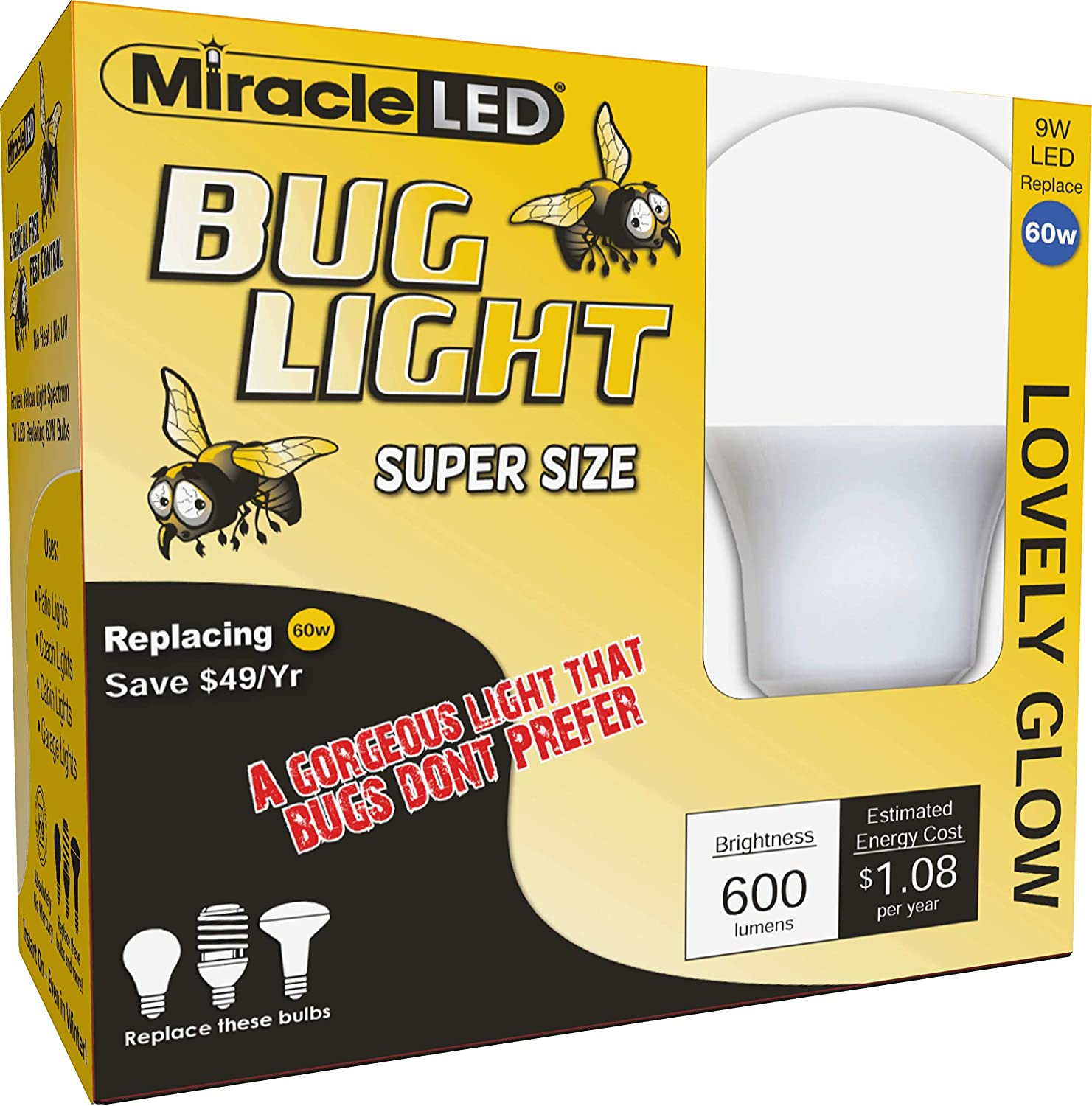 Miracle LED Lovely Glow Yellow LED Bug Light Bulb, Porch / Patio / Entry Way Outdoor Chemical Free Pest Control, Save Money - Replace 40W / 60W / 75W / 100W, 2-Pack (606014)