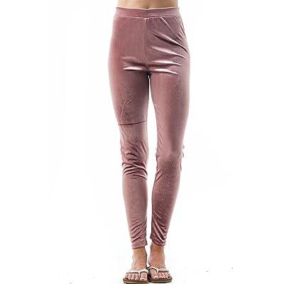 Plain Velvet Velour Elasticized Waistband Legging Pants