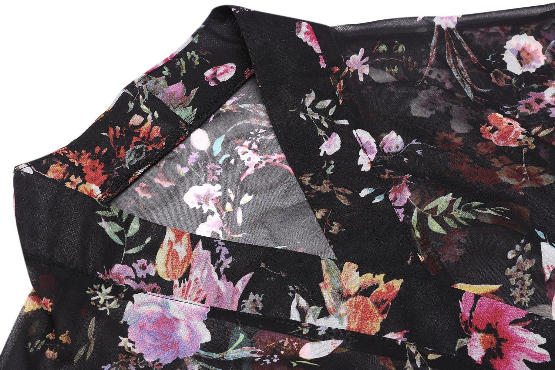 BLUETIME Women's 3/4 Sleeve Floral High Low Chiffon Kimono Cardigan Blouse (M, Black) by BLUETIME (Image #7)