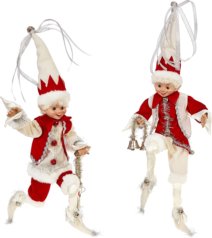 RAZ Imports SET OF 2 Raz 16 Silver and Red Posable Elf Christmas Figure 3802260 Cream