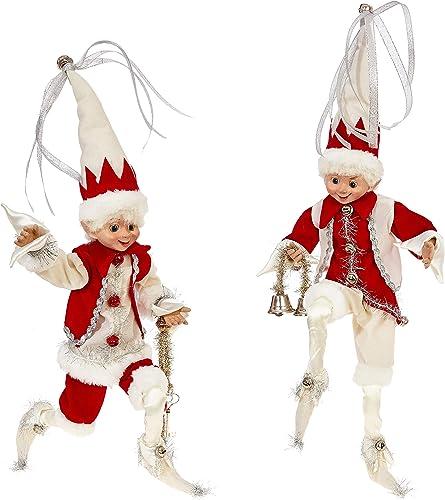 RAZ Imports SET OF 2 Raz 16 Silver, Cream, and Red Posable Elf Christmas Figure 3802260