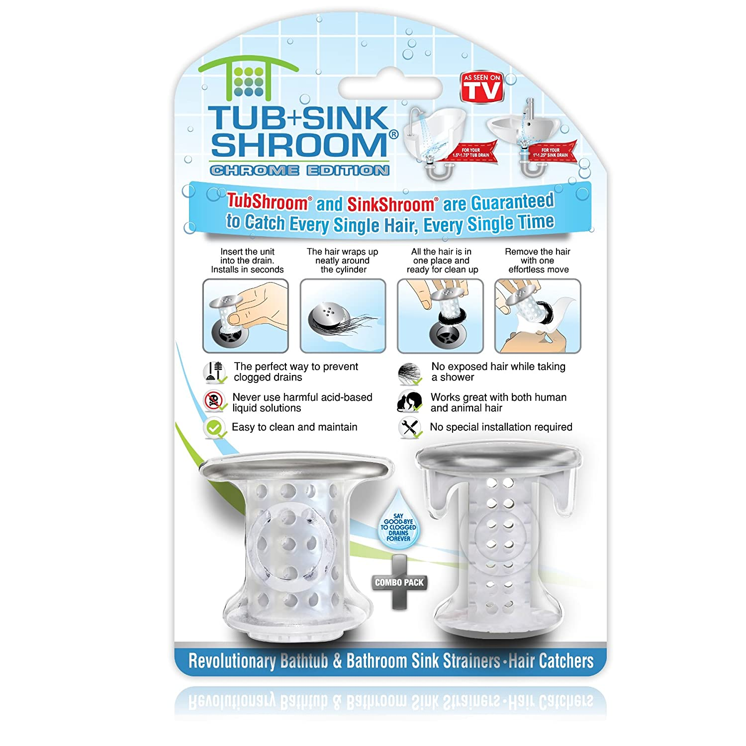 TubShroom and SinkShroom Drain Protectors Hair Catchers for Bathtubs and Sinks, Chrome