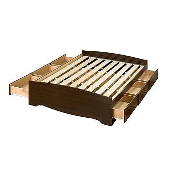amazoncom espresso queen mates platform storage bed with 6 drawers kitchen dining - Storage Bed Frame Queen
