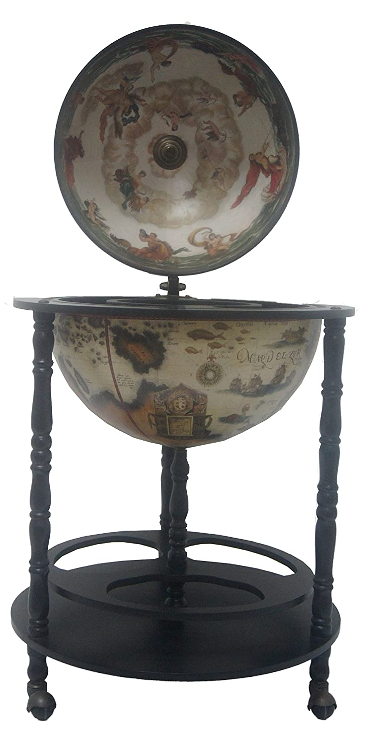 Merske 16th Century Italian Style Floor Globe Bar, 20 Diameter, White