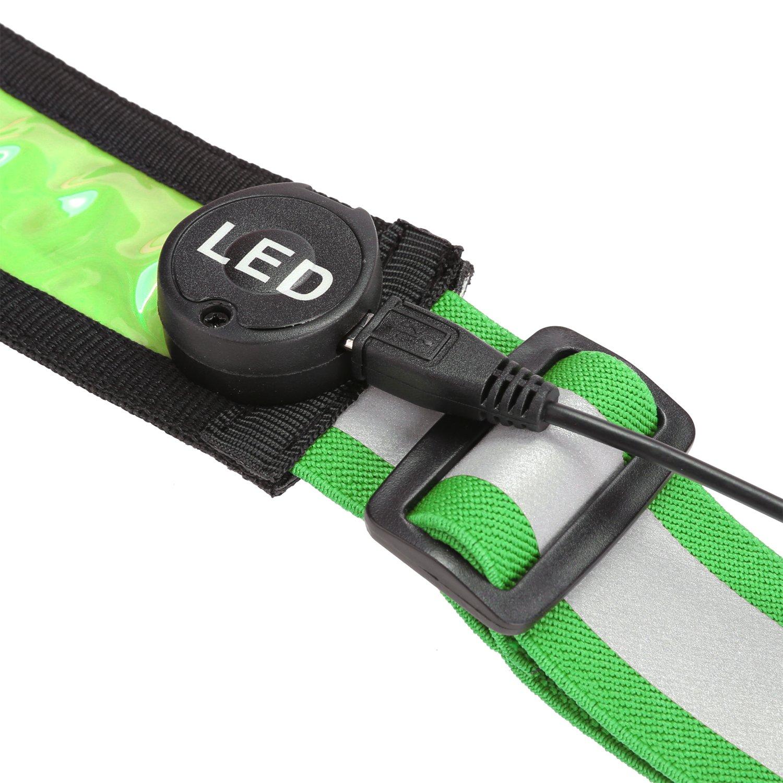 LEADSTAR La Ceinture Réfléchissante à LED Rechargeable par USB pour Courir  Course Vélo(Vert)  Amazon.fr  Sports et Loisirs c9978305d43