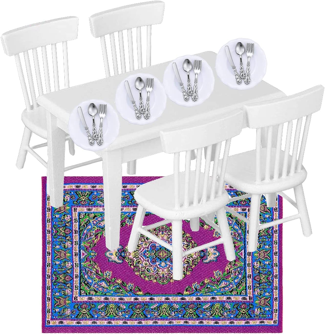 22Pcs Dollhouse Furniture Set, 1/12 Dollhouse Decoration 1Pc Wooden Dining Table and 4Pcs Chair, 1Pc Mini Carpet Turkey Rugs, 4Pcs Plates and 12Pcs Knives Forks Spoons for Kids Gift