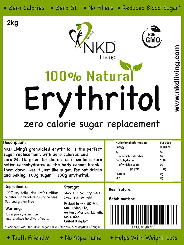 Eritritol 100 % natural 2 kg | Granulado sustituto del azúcar con cero calorías ...: Amazon.es: Alimentación y bebidas