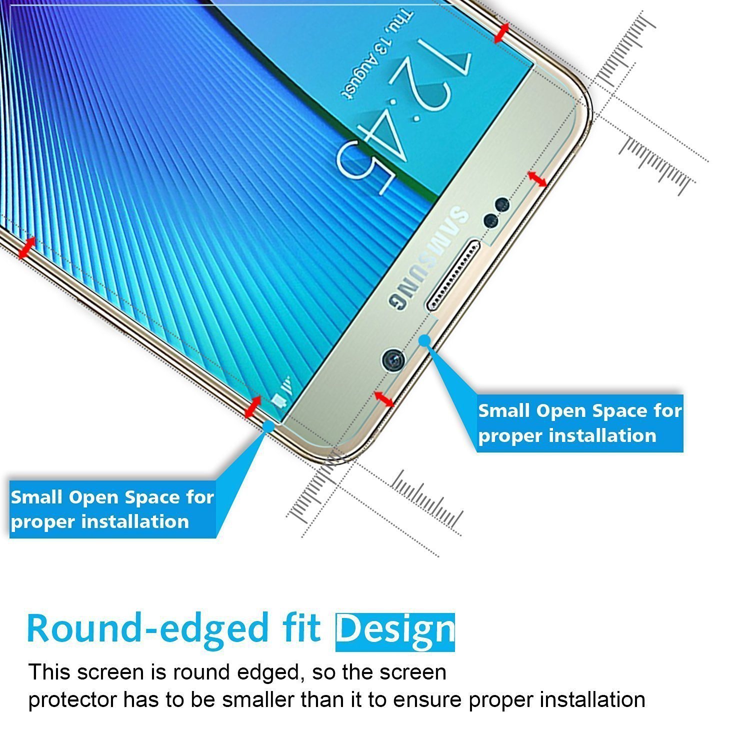 Omoton Galaxy Note 5 Screen Protector Tempered Glass Xiaomi Redmi Note5 Color 25d Full Cover For Samsung With Round Edge 9h Hardness Crystal
