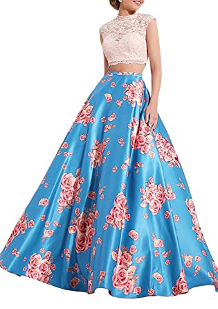 Lily Wedding Womens Lace 2 Piece Floral Print Prom Dresses Long Aline Formal Ball Gowns at Amazon Womens Clothing store: