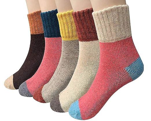 Vellette Calcetines algodón termicos ricos en algodon para Muje-Niña-Ideales para invierno EU 34-40 (5 Pares): Amazon.es: Ropa y accesorios