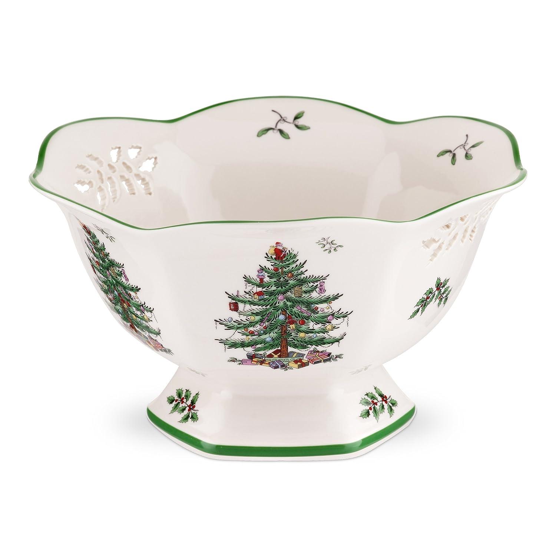 Spode Christmas Tree Pierced Hexagonal Footed Bowl Portmeirion USA 1556720