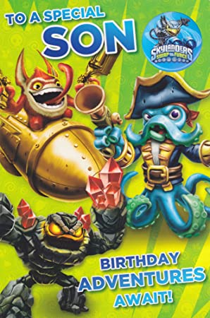 Skylanders Son Birthday Card With Badge Amazon Office Products