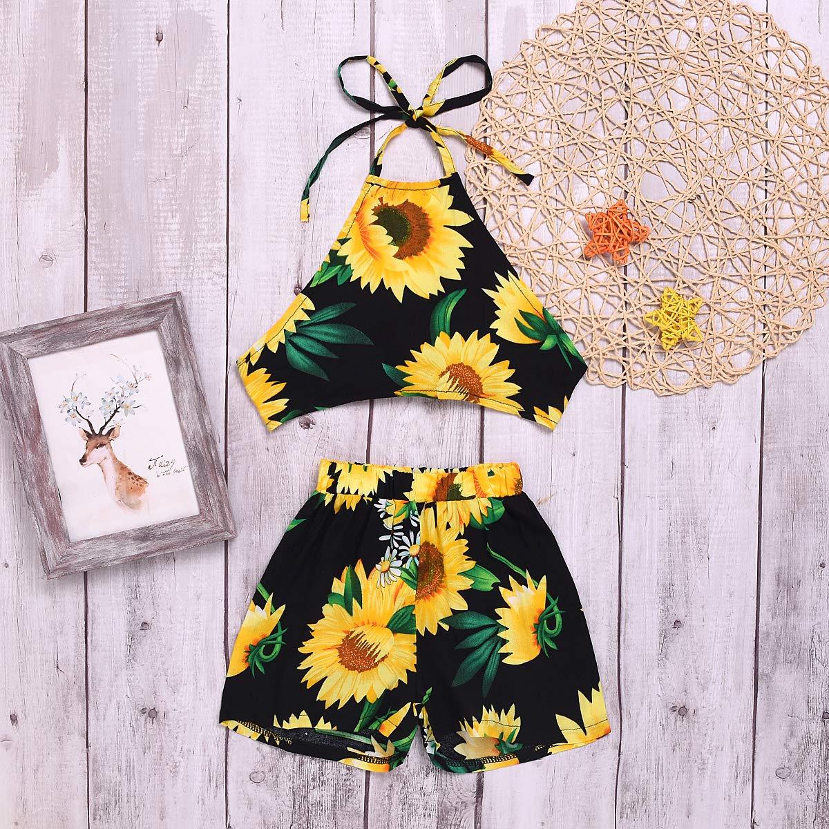 b84829aba0 Amazon.com: YOUNGER TREE Kids Toddler Baby Girls Shorts Set Sunflower  Backless Shirts+ Shorts Beachwear Sunsuit Summer Clothes Outfits: Clothing