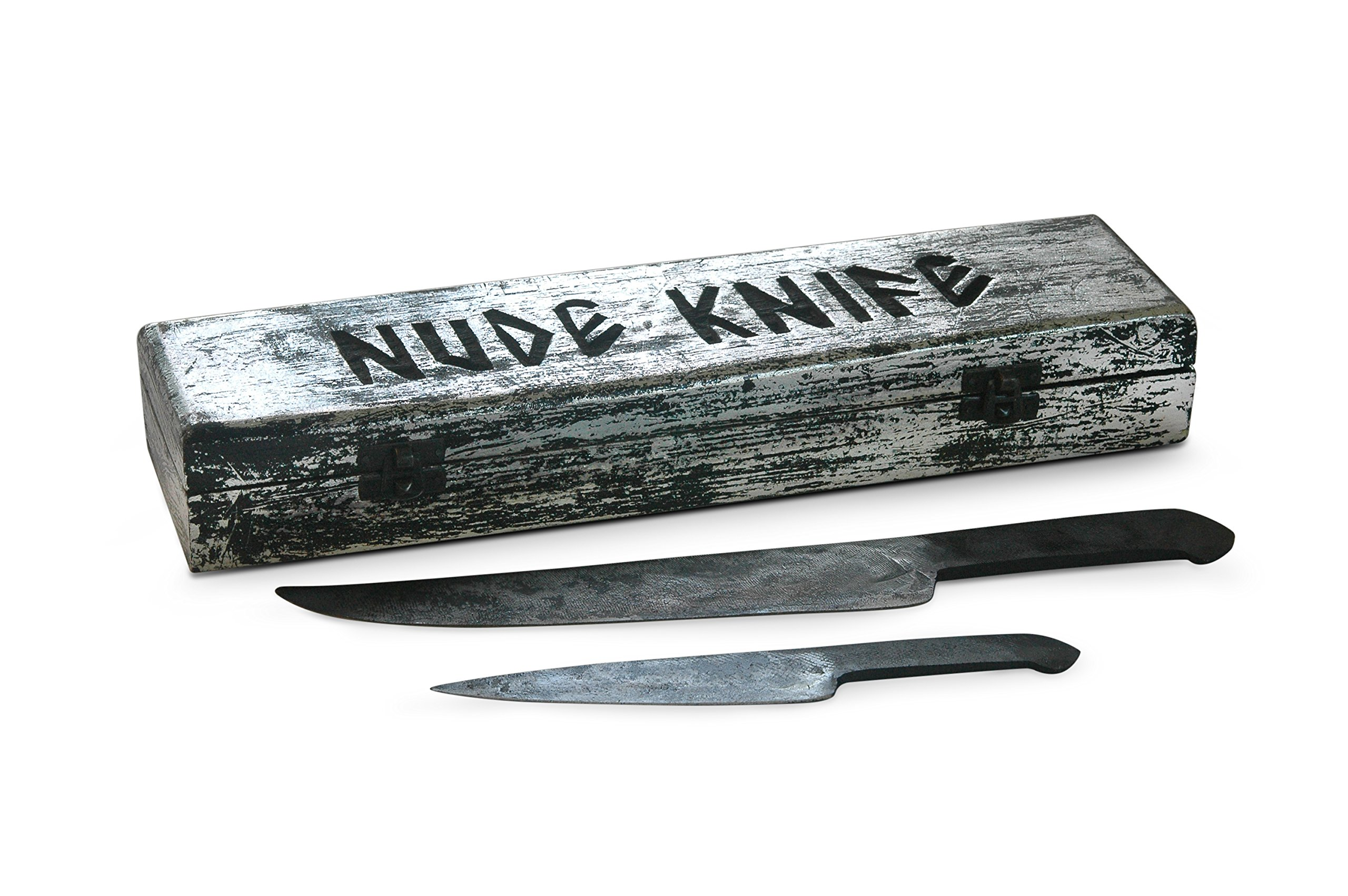 Forged in Fire from Steel File : Nude Knife Set : Cave Man Collection - Natural Shape Fixed Handle Knives. Specialty Carbon Steel Knives for Hunters to Process Carcass, Bushcrafting, Camp Chores