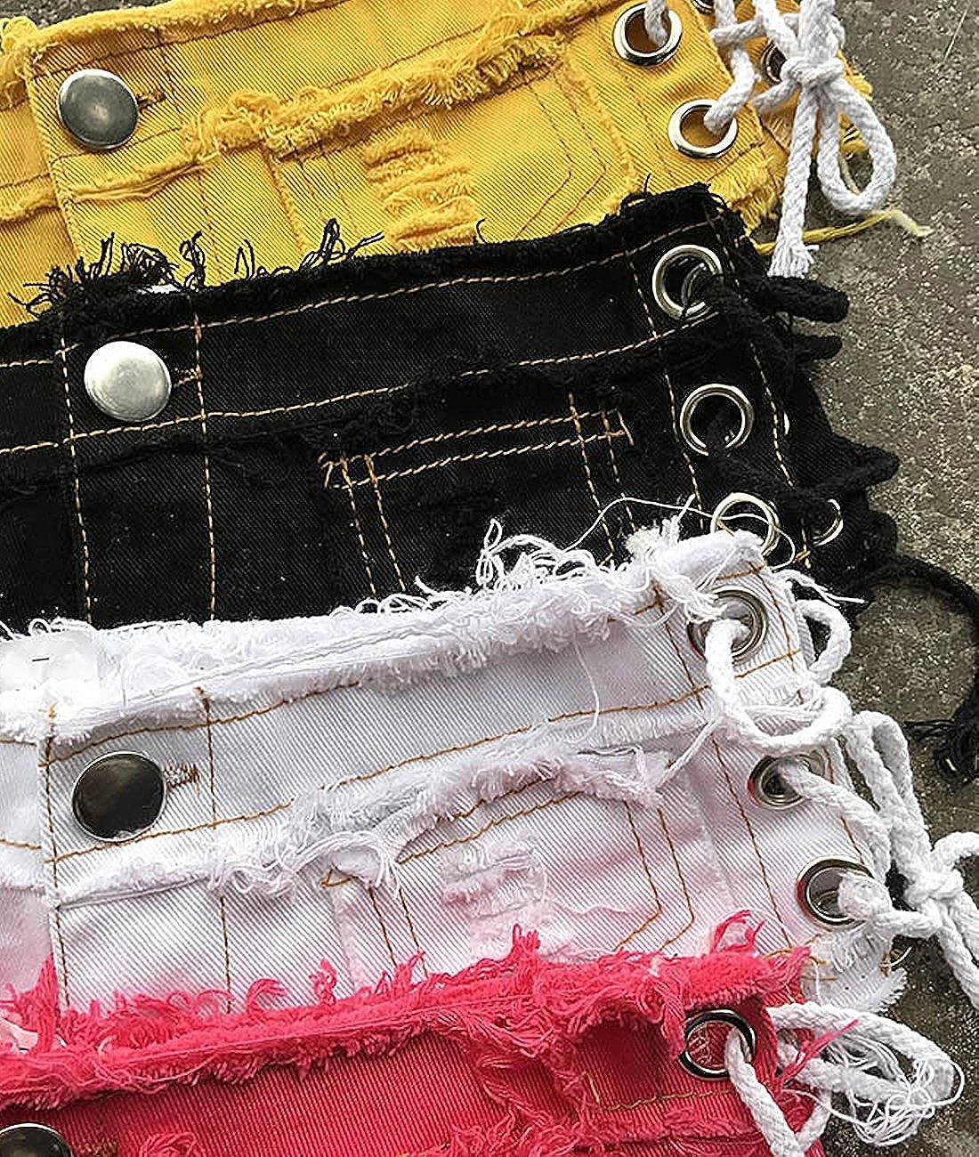 HAODIAN Womens Lace Up Ripped Cheeky Mini Denim Short