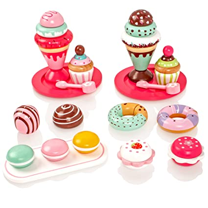 Milly Ted Wooden Dessert Set With Cakes Ice Creams Childrens Wood Playfood Toy Kids Pretend Play Food
