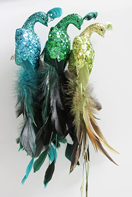 feather bird peacock type hangingclip on christmas decorations set of 3 - Peacock Christmas Decorations