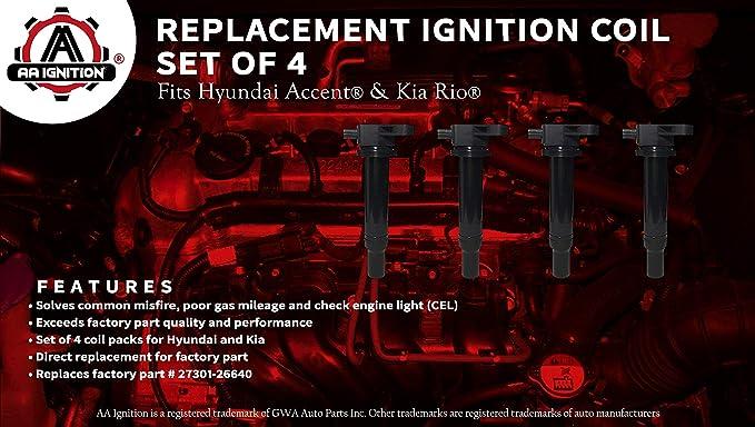 Bobina de encendido Set de 4 - Hyundai Accent, Kia Rio - sustituye a # 27301 - 26640 - Bobina de encendido pack para 2010 Hyundai Accent, 2009 Hyundai ...