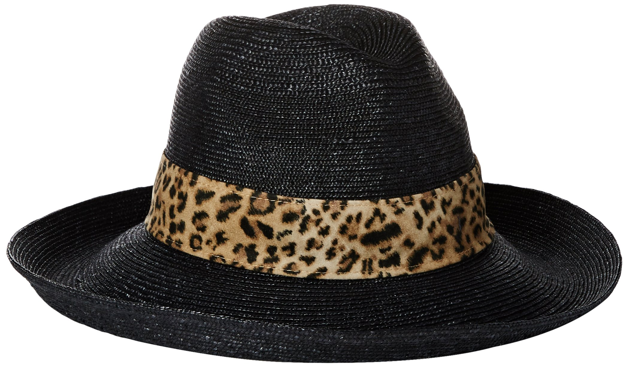 Gottex Women's Jungle Fever Sun Hat, Rated UPF 50+ For Max Sun Protection, Black/Leopard, One Size
