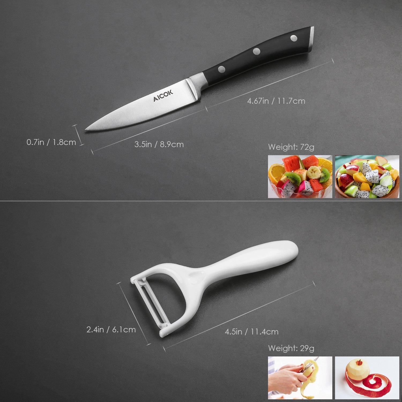 Conjunto de cuchillos de cocina (4 piezas). Acero al carbono inoxidable alemán - Aicok por solo 18,98€