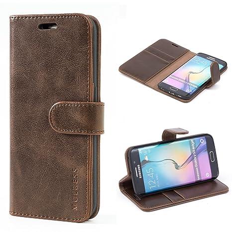 Mulbess Ledertasche im Ständer Book Case / Kartenfach für Samsung Galaxy S6 Edge Tasche Hülle Leder Etui,Vintage Braun