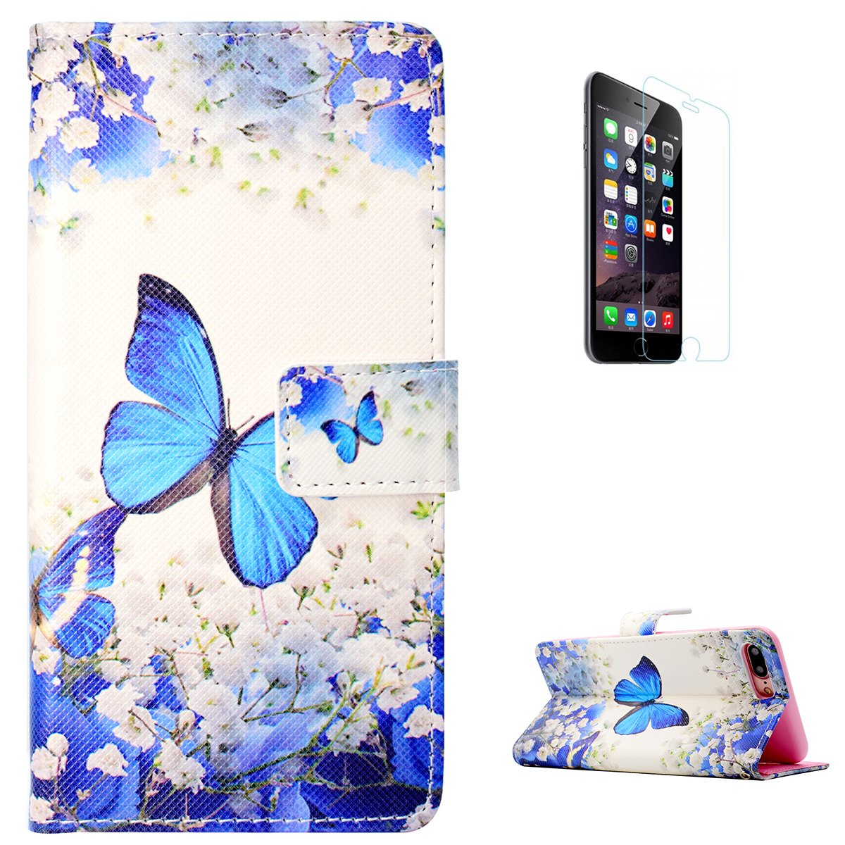 KaseHom iPhone 7 Plus/8 Plus Case + [Free screen Protector], Premium Slim Leather Shell Cute Cartoon Butterfly Design with Card Slot Kickstand Magnetic Flip Durable Wallet Cover for 7 Plus/8 Plus CaseHome CHIP7P-213221
