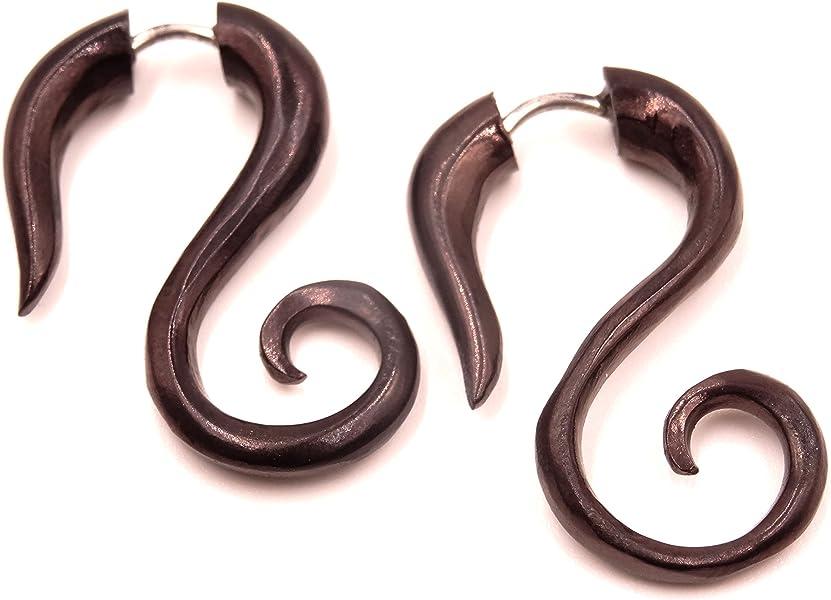 Falso Dilatador cuerno hueso Pendientes Negro Pendientes Piercing Wooden Gauge Earrings Fake par Gauge Horn Bone espiral