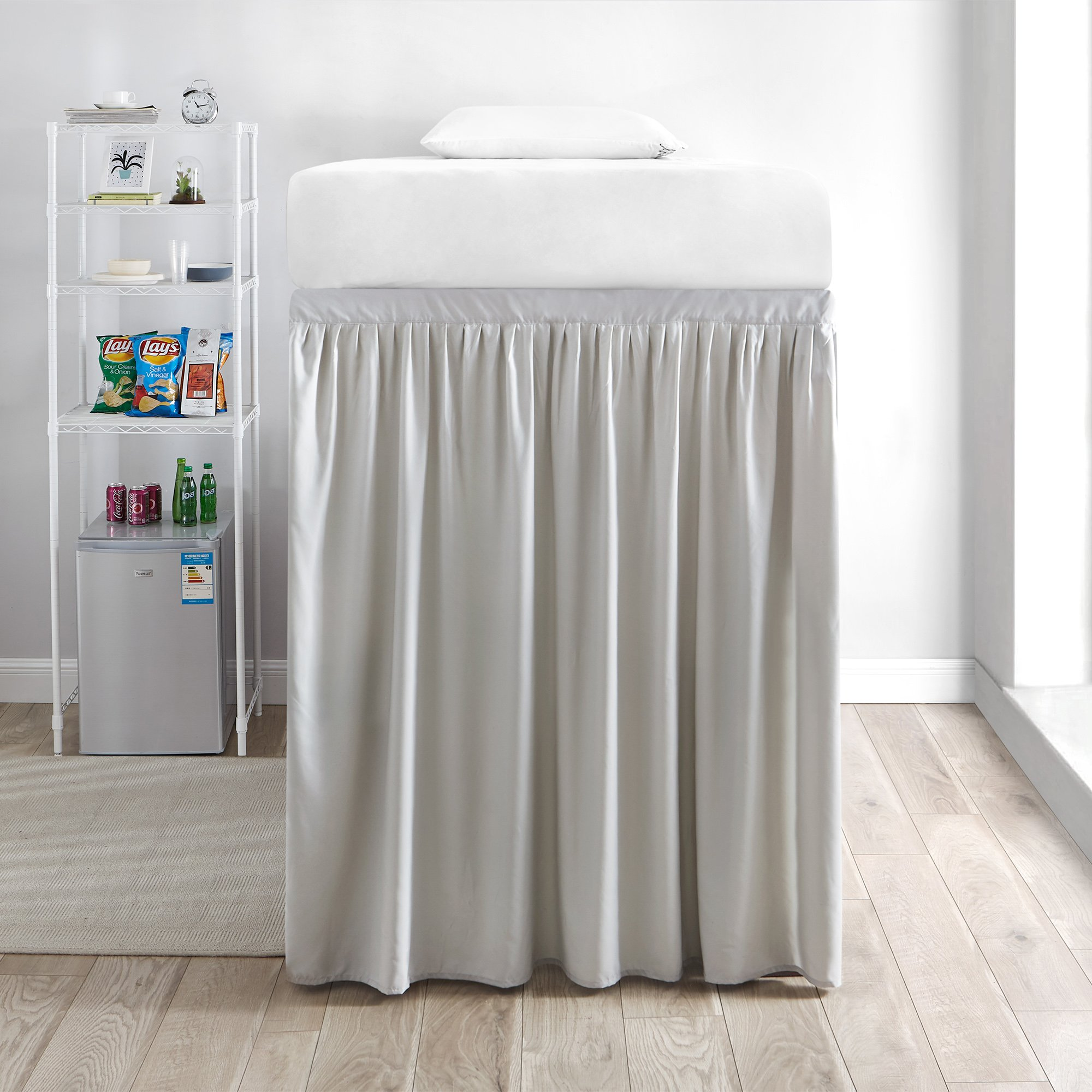 DormCo Extended Bed Skirt Twin XL (3 Panel Set) - Silver Birch