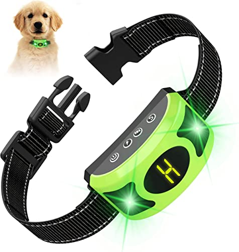 Valoinus Dog Bark Collar, Rechargeable Dog Training Anti Bark for Large Medium Small Dogs with Adjustable Humane Modes, LED Light Screen Waterproof