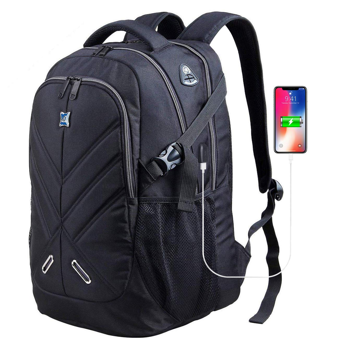 Backpack for Men and Women Fit 17 Inches All 15.6 Inches Laptops Waterproof Shockproof OUTJOY School Bag Travel Laptop Backpack Book Bag Business Work Daypack with USB Charging Port Black by OUTJOY