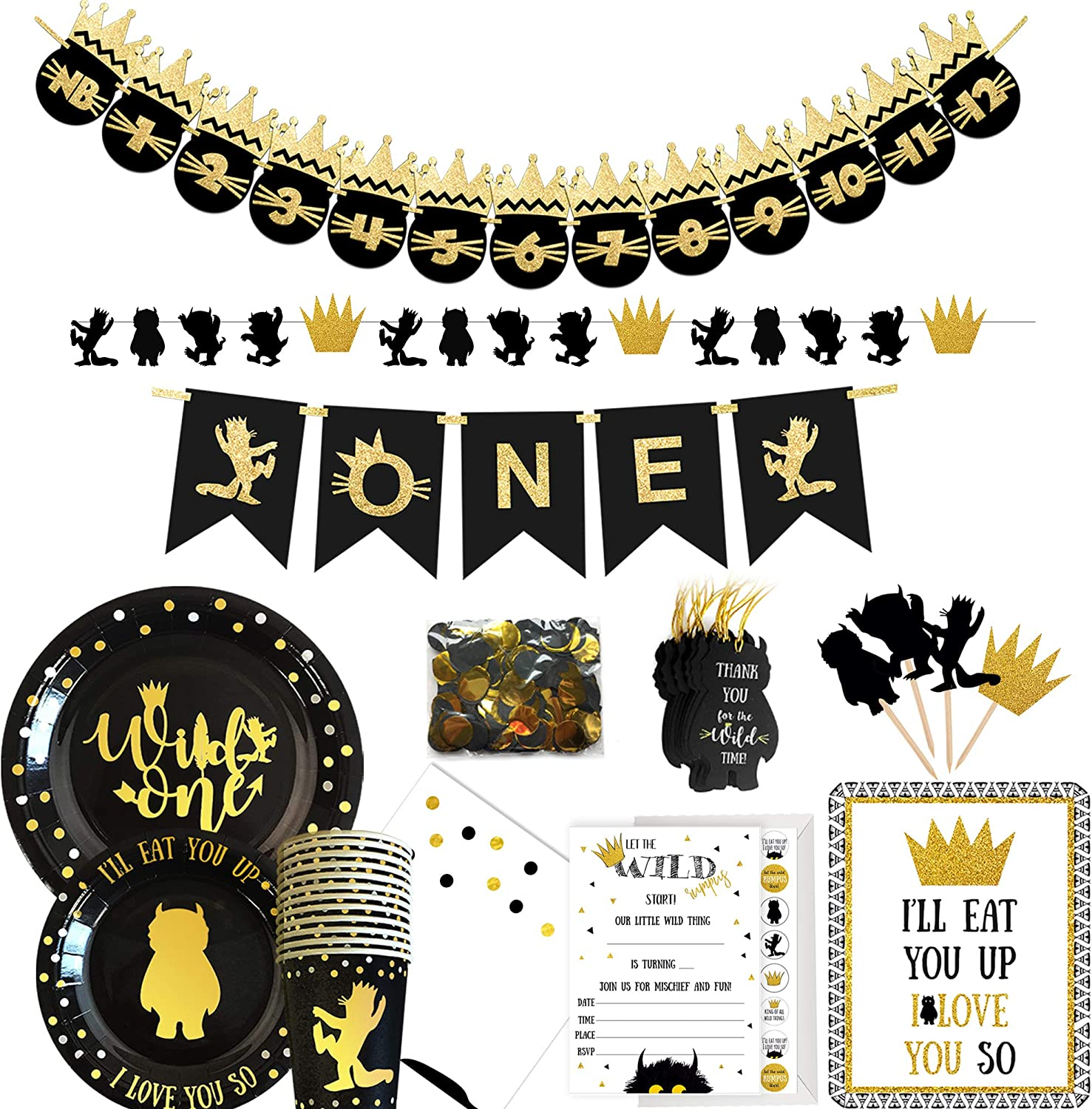 Wild One Birthday Decorations I 12 items -129+ Pieces Wildone Party Supplies I Party Plates Napkins Disposable Cups I Garlands High Chair & Monthly Photo Banner I Cake Toppers Confetti Tags Invitation