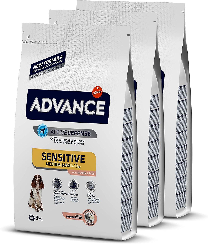 ADVANCE Sensitive Medium-Maxi - Pienso para Perros de Razas Medianas y Grandes con Sensibilidades Digestivas con Salmón y Arroz - Pack de 3 x 3kg - Total 9Kg