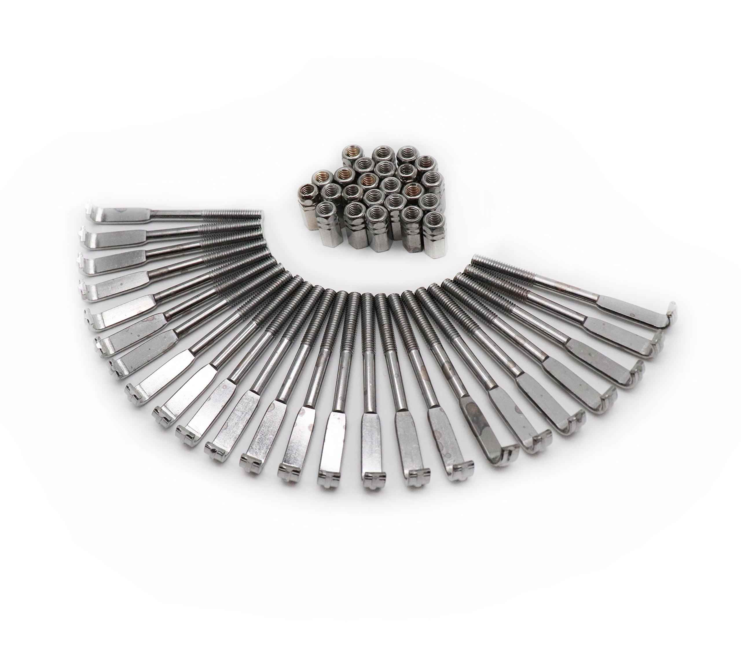Timiy 1Set of 24Pcs Standard Banjo Bracket Hook & Nut Banjo Accessories Silver