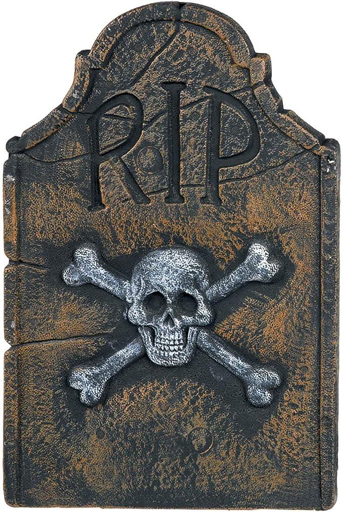 Hand-printed Halloween Greeting Card Embossed Silver New England Headstone Skull