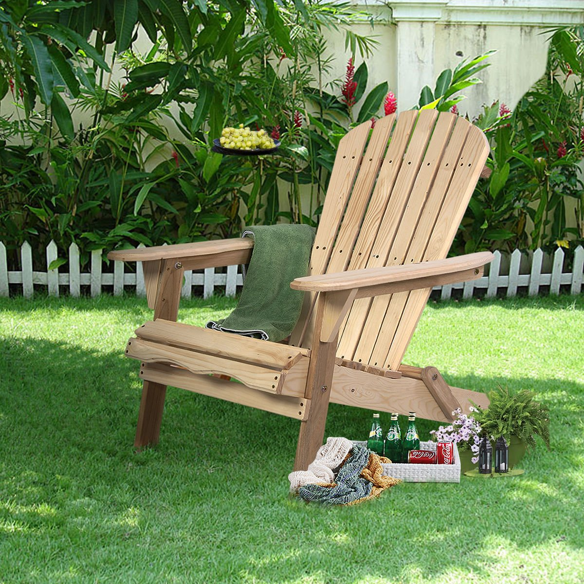 CY New Outdoor Foldable Fir Wood Adirondack Chair Patio Deck Garden Furniture