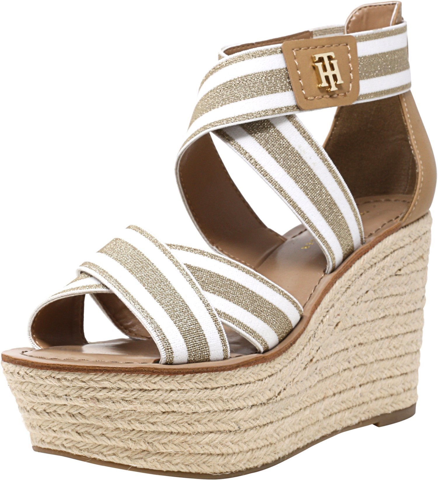 febd86b1 Galleon - Tommy Hilfiger Women's Theia Espadrille Wedge Sandal, Gold/White,  8 Regular US