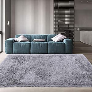 Maxsoft Fuzzy Rugs for Living Room, Grey Shag Area Rugs for Bedroom, 4 x 6 Feet, Fluffy Room Carpets for Girls, Kids, Plush Furry Rugs for Nursery, Bedside, Floor