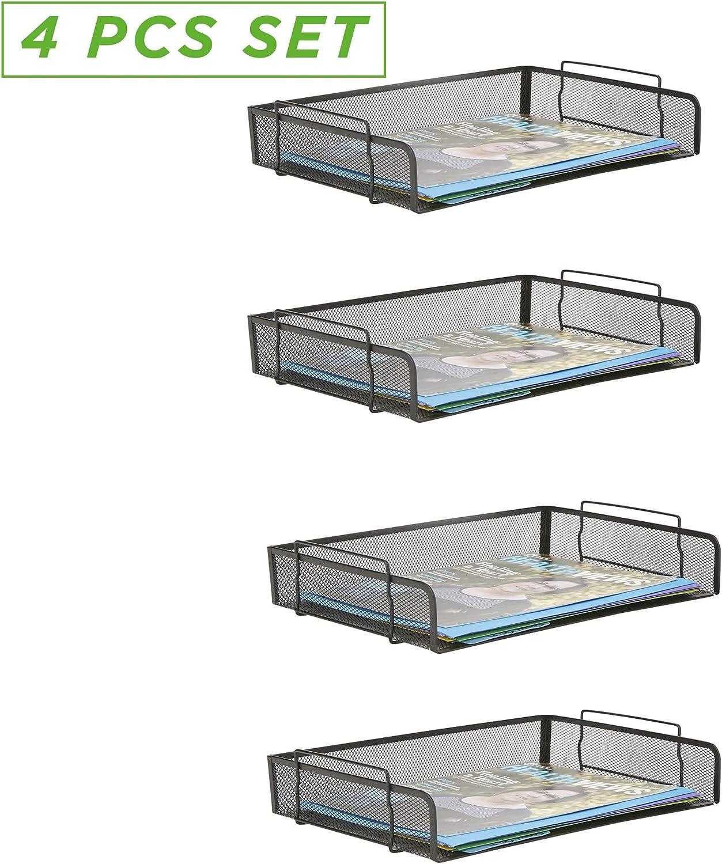 Mind Reader DSTACK2-TUR Stackable Letter Turquoise 2 Piece Magazine Storage Tray Mesh Desk Desktop File Document Organization Holder