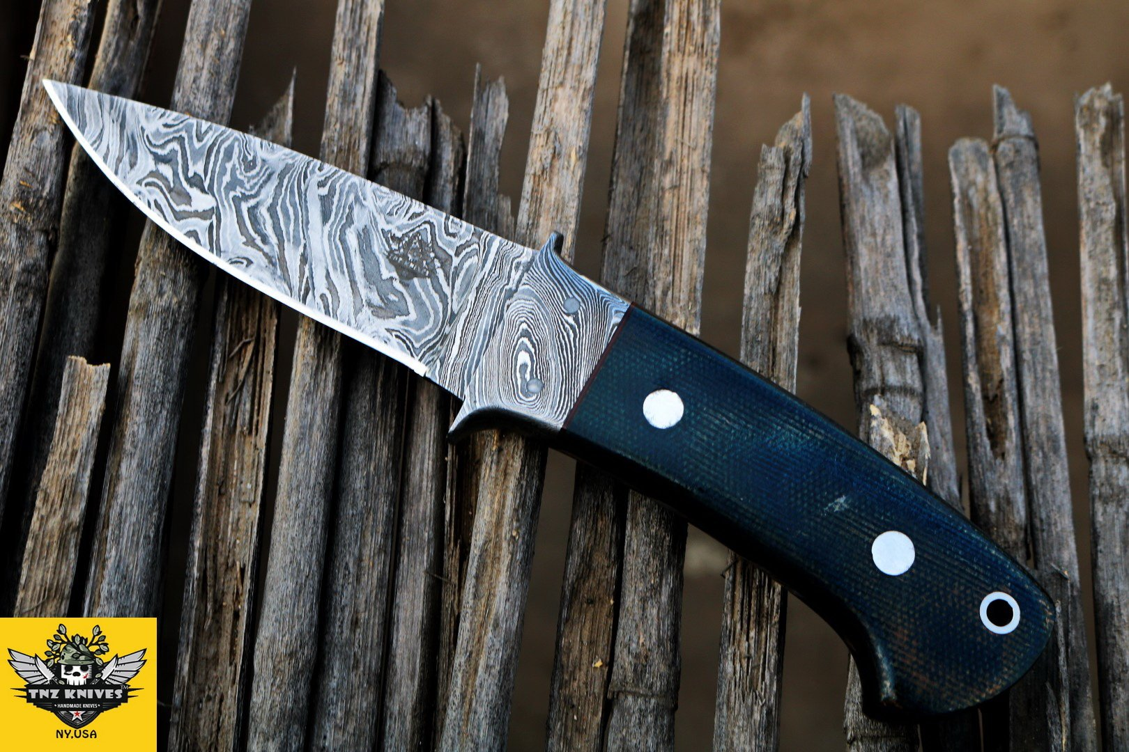 """TNZ-128 USA Damascus Knife 7.2″ Long 3.2″Blade """" 3.8oz Hunting Camping Damascus knife Bowie Hunting Skinner Survival Outdoor Knife With Leather Cover TNZ Hand Made Damascus knives"""