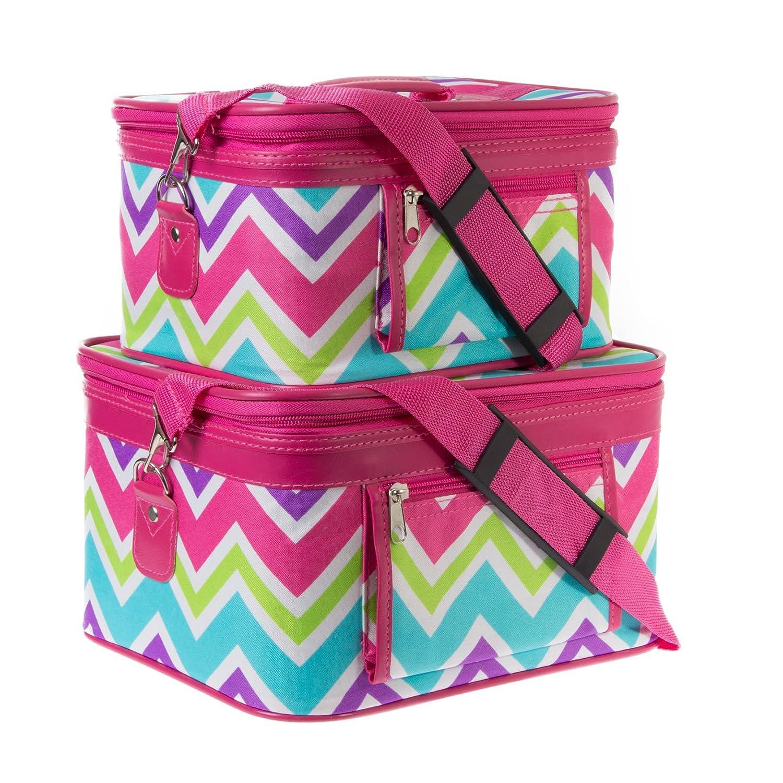Pink Multicolor Chevron Cosmetic Train Case 2 piece set