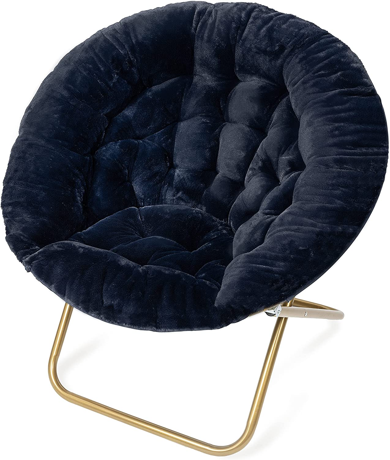Milliard Cozy Chair/Faux Fur Saucer Chair for Bedroom/X-Large (Navy Blue)
